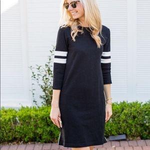 J. Crew Black & White Varsity Sleeve Dress XS